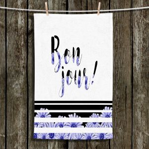 Unique Hanging Tea Towels | Zara Martina - Bonjour Typography Blue Floral | Bonjour Typography French Flowers