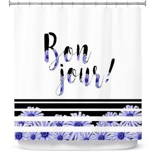 Premium Shower Curtains   Zara Martina - Bonjour Typography Blue Floral