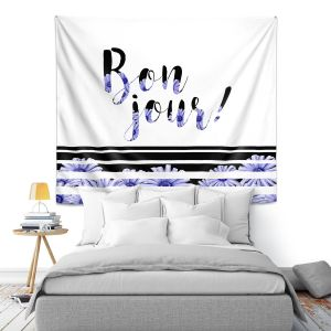Artistic Wall Tapestry   Zara Martina - Bonjour Typography Blue Floral