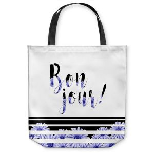 Unique Shoulder Bag Tote Bags |Zara Martina - Bonjour Typography Blue Floral