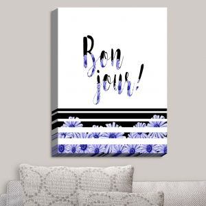 Decorative Canvas Wall Art | Zara Martina - Bonjour Typography Blue Floral | Bonjour Typography French Flowers