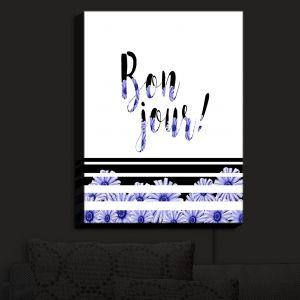 Nightlight Sconce Canvas Light | Zara Martina - Bonjour Typography Blue Floral | Bonjour Typography French Flowers