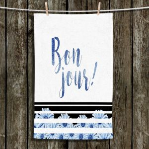 Unique Hanging Tea Towels | Zara Martina - Bonjour Typography Blue | Bonjour Typography French Flowers