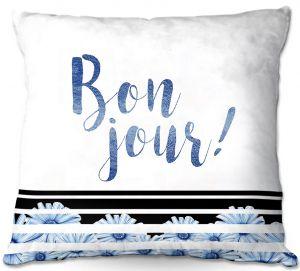 Throw Pillows Decorative Artistic | Zara Martina - Bonjour Typography Blue