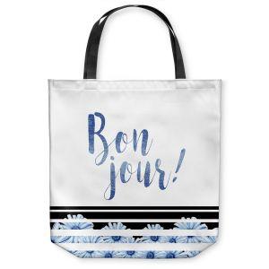 Unique Shoulder Bag Tote Bags |Zara Martina - Bonjour Typography Blue