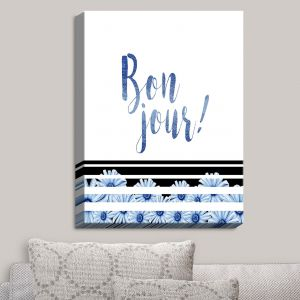 Decorative Canvas Wall Art | Zara Martina - Bonjour Typography Blue | Bonjour Typography French Flowers