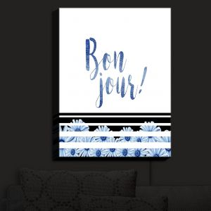 Nightlight Sconce Canvas Light | Zara Martina - Bonjour Typography Blue | Bonjour Typography French Flowers