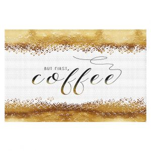 Decorative Floor Coverings | Zara Martina - But First Coffee Gold | Inspiring Typography Lady Like