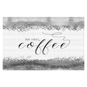 Decorative Floor Coverings | Zara Martina - But First Coffee Silver | Inspiring Typography Lady Like