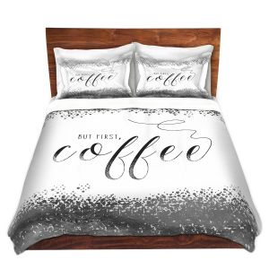 Artistic Duvet Covers and Shams Bedding   Zara Martina - But First Coffee Silver   Inspiring Typography Lady Like