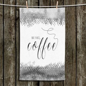 Unique Bathroom Towels | Zara Martina - But First Coffee Silver | Inspiring Typography Lady Like