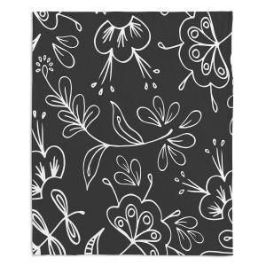 Decorative Fleece Throw Blankets | Zara Martina - Charcoal Flora Mix
