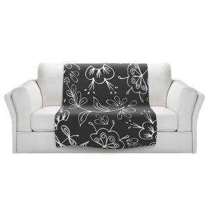Artistic Sherpa Pile Blankets   Zara Martina - Charcoal Flora Mix