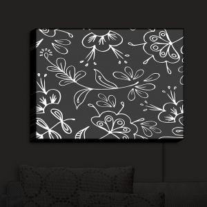 Nightlight Sconce Canvas Light | Zara Martina - Charcoal Flora Mix | Flowers Patterns