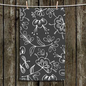 Unique Hanging Tea Towels | Zara Martina - Charcoal Flora Mix | Flowers Patterns
