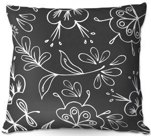 Decorative Outdoor Patio Pillow Cushion | Zara Martina - Charcoal Flora Mix
