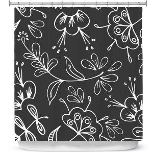 Premium Shower Curtains   Zara Martina - Charcoal Flora Mix