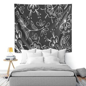 Artistic Wall Tapestry   Zara Martina - Charcoal Flora Mix