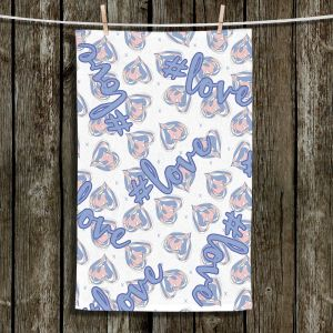 Unique Hanging Tea Towels | Zara Martina - Floating Hearts Hashtag Love | Quotes Patterns Hearts