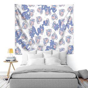 Artistic Wall Tapestry | Zara Martina - Floating Hearts Hashtag Love