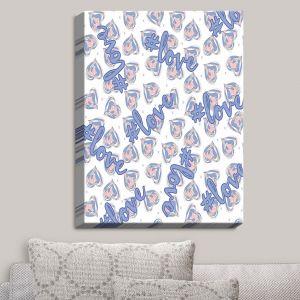 Decorative Canvas Wall Art | Zara Martina - Floating Hearts Hashtag Love | Quotes Patterns Hearts