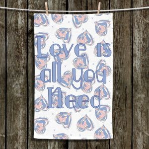 Unique Hanging Tea Towels | Zara Martina - Floating Hearts Love | Quotes Patterns Hearts