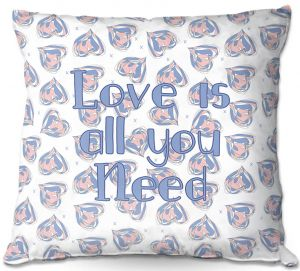 Decorative Outdoor Patio Pillow Cushion | Zara Martina - Floating Hearts Love