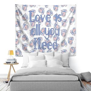 Artistic Wall Tapestry | Zara Martina - Floating Hearts Love