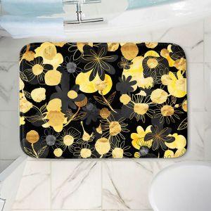 Decorative Bathroom Mats | Zara Martina - Golden Night Blooms | floral flower pattern