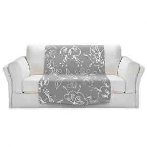 Artistic Sherpa Pile Blankets   Zara Martina - Grey Flora Mix