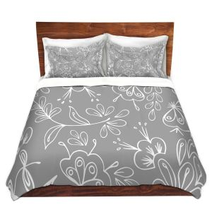 Artistic Duvet Covers and Shams Bedding | Zara Martina - Grey Flora Mix