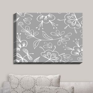 Decorative Canvas Wall Art | Zara Martina - Grey Flora Mix