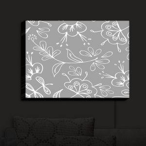 Nightlight Sconce Canvas Light | Zara Martina - Grey Flora Mix | Flowers Patterns