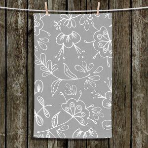 Unique Hanging Tea Towels | Zara Martina - Grey Flora Mix | Flowers Patterns