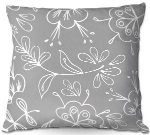 Throw Pillows Decorative Artistic | Zara Martina - Grey Flora Mix