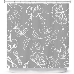 Premium Shower Curtains | Zara Martina - Grey Flora Mix