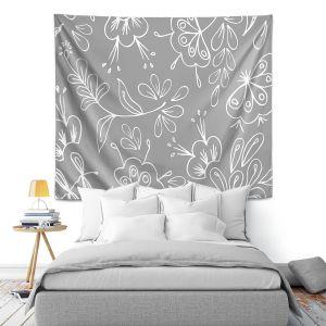 Artistic Wall Tapestry | Zara Martina - Grey Flora Mix
