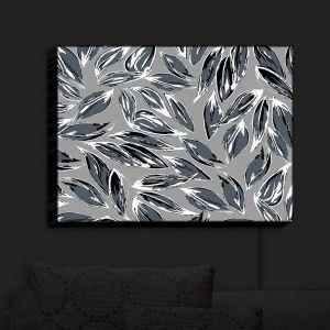 Nightlight Sconce Canvas Light | Zara Martina - Grey Leafy Layers | Leaves Patterns