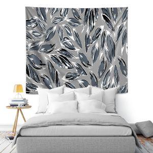 Artistic Wall Tapestry | Zara Martina - Grey Leafy Layers