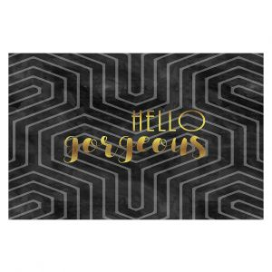 Decorative Floor Coverings | Zara Martina - Hello Gorgeous Geo Pattern Black Gold