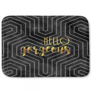 Decorative Bathroom Mats   Zara Martina - Hello Gorgeous Geo Pattern Black Gold
