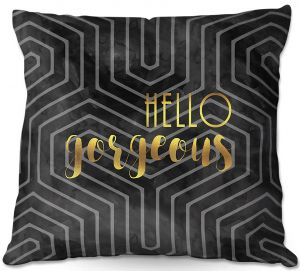 Decorative Outdoor Patio Pillow Cushion | Zara Martina - Hello Gorgeous Geo Pattern Black Gold