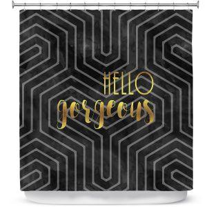 Premium Shower Curtains   Zara Martina - Hello Gorgeous Geo Pattern Black Gold