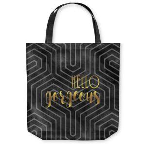 Unique Shoulder Bag Tote Bags |Zara Martina - Hello Gorgeous Geo Pattern Black Gold