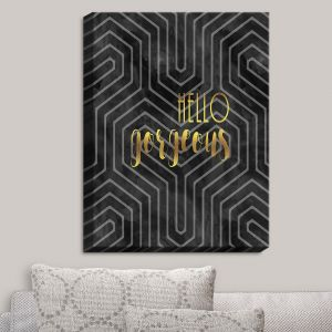 Decorative Canvas Wall Art | Zara Martina - Hello Gorgeous Geo Pattern Black Gold | Hello Gorgeous Geo Pattern Sayings