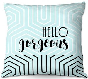 Decorative Outdoor Patio Pillow Cushion | Zara Martina - Hello Gorgeous Geo Pattern Blue