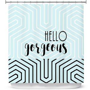 Premium Shower Curtains | Zara Martina - Hello Gorgeous Geo Pattern Blue