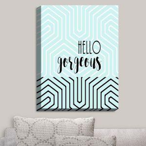 Decorative Canvas Wall Art | Zara Martina - Hello Gorgeous Geo Pattern Blue | Hello Gorgeous Geo Pattern Sayings