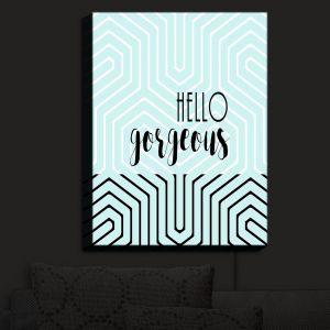 Nightlight Sconce Canvas Light | Zara Martina - Hello Gorgeous Geo Pattern Blue | Hello Gorgeous Geo Pattern Sayings