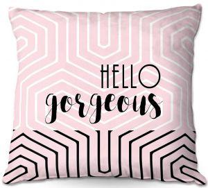 Throw Pillows Decorative Artistic | Zara Martina - Hello Gorgeous Geo Pattern Pink